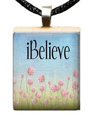 CHRISTIAN SCRABBLE TILE PENDANT CHARM IBELIEVE FLOWERS I BELIEVE #04