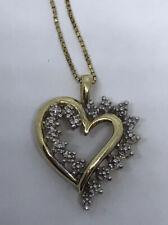 "Heart Pendant Diamond 10k Yellow Gold 20"" Chain 14k Gold Necklace"