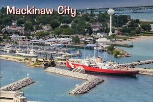 The U.S. Coast Guard Cutter Mackinaw City, Great Lakes Ship, Michigan,  Postcard