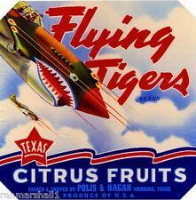 Edinburg Texas Flying Tigers WWII Fighter Orange Citrus Fruit Crate Label Print