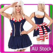 Ladies Navy Sailor Girl Costume Uniform Womens Rockabilly Pin Up Fancy Dress