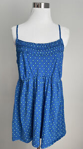 Cacique Intimates Sleepwear Cami 18/20 Blue Polka Dot Cotton Slvless Adj Straps