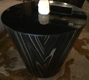 Modloft Dorset Side Table Black glass top  black/brown wood