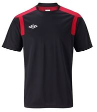 UMBRO mens short sleeve training  t shirt jersey top XXL BLACK/RED polyester