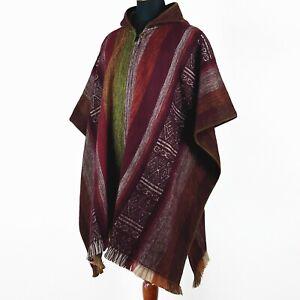 Lightweight Baby Alpaca Wool Poncho Handmade S.American Artisans Burgundy Red