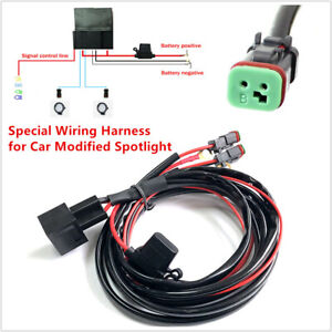 Dual 12V Auto Car Wiring Connector Cable Harness Kit High Beam for LED Light Bar