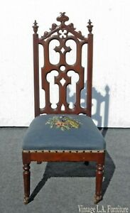 Antique French Country Victorian Blue Floral Needlepoint Accent Chair