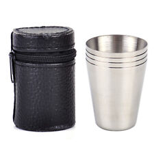 Portable Mini Steel Camping Travel Steel Shot Glass Case Drinking Mug Cup Cover