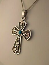 TURQUOISE STERLING CROSS PENDANT NECKLACE BOX CHAIN MEXICO SILVER 925 MEXICAN