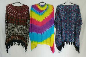Tunika Bluse Poncho Überwurf Lagenlook Batik Ethno One Size Free Size Viskose