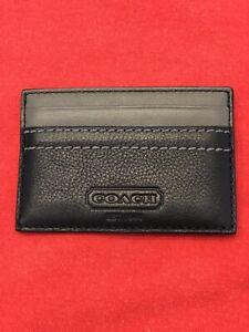 Coach Mens Credit Card Holder Wallet Black Wallet NWOT Business EDC