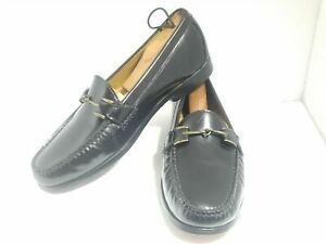 Cole Haan Mens Size 9 M Black Leather Gold Horse Bit Loafers Shoes SB7