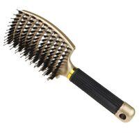 Brosse À Cheveux En Poils de Sanglier-Brosse À Cheveux Démêlante Courbée Et T1R