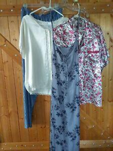 Plus Size 2XL Mixed Lot Of Lingerie Petra Adonna Tops, Pants, Maxi Gown NICE