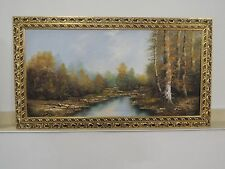 "Koenig oil on canvas painting Signed Wood frame gold-plated 45x25"" Landscape"