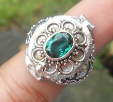 925 Solid Silver Balinese Poison Wish Locket Ring Green Quartz Size 9-H120