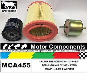 FILTER KIT Oil Air Fuel for CITROEN BERLINGO M49 TU3JP 1.4L Petrol 1999 > 2003