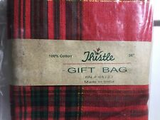 """Thistle 100% Cotton Fabric Gift Bag Holiday Xmas Plaid Red Green Gold 36"""" New!"""