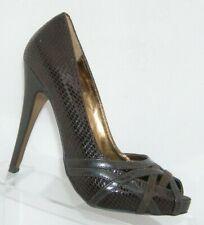Charles by Charles David peep toe brown strappy snake platforms heels 7.5M