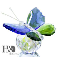 Crystal Butterfly Animal Paperweight Ornament Wedding Gift Collectibles Blue