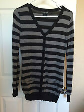 Women's Wet Seal Black White Long Cardigan Button Down Long Sleeve Size Small