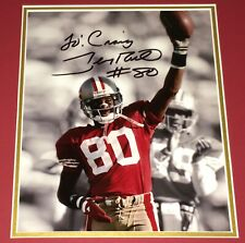 VINTAGE JERRY RICE #80 SIGNED & INSCRIBED ACTION PHOTO + MODDERNO COA!