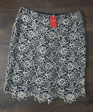 BNWT Pure Collection cotton lace black white scalloped luxury pencil skirt 18 uk