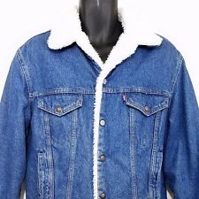 Levis Denim Trucker Jacket Vtg 70s 80s Sherpa Shearling LIned Made In USA 42R