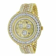 Real Diamond Yellow Gold Tone XL Face 2 Tone Custom Removable Bezel Men's Watch