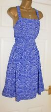 NEXT Tall Blue White Holiday Summer All Occasion Skater Dress Size 16