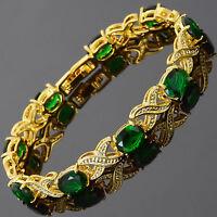 Xmas Charming! Green Emerald 18K Yellow Gold Gp Tennis Bracelet Jewelry New