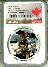 2018 Canada S$20 Justice League The Flash & Wonder Woman NGC PF70 UC Box COA OGP