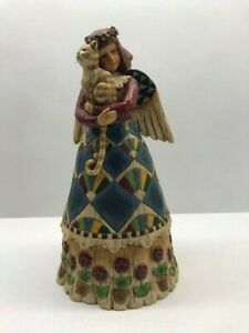 "Jim Shore Heartwood Item #105170 ""ANGEL WITH CAT"" Figurine, 2002 9"" tall"
