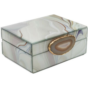 White Jewellery Box With All-Natural Agate Stone Accessory Storage Display Box