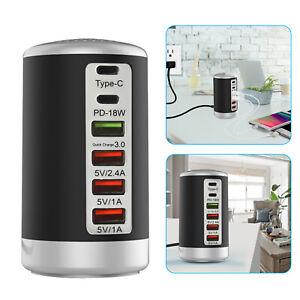 Multi 6 Port USB Charging Station Hub Tower Desktop Cell Phone Charger Organizer