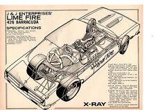 1967 426 BARRACUDA FUNNY CAR / J & J ENTERPRISES ~ ORIGINAL  4-PAGE ARTICLE / AD