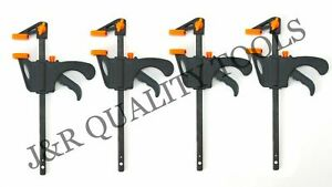 "4"" F CLAMP SPEED BAR SPREADER QUICK RELEASE RATCHET Woodworking 4 Pack"