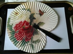 The Peoples Republic of China Floral Paper Hand Fan in Fold Up Metal Handle Case
