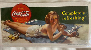 vinage coca cola litho card advertisement Women At Beach