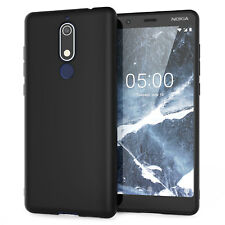 Funda Nokia 5.1, Delgado Silicona Ultra Suave Gel mejor cubierta del teléfono-Negro Mate Uk