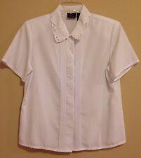 Laura Scott 8P White Cutout Blouse 100% Polyester Short Sleeve Pin Tuck