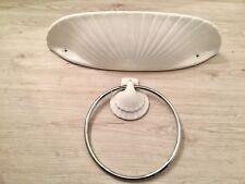 Muschel Waschtisch Ablage + Handtuchhalter Weiß Keramik Gästetoilette Bad