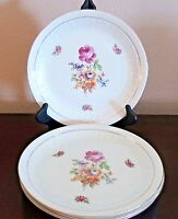 Coditz Porzellan Germany Rose Floral Dinner Plates x4 Ribbed Rim Gold Trim/Verge