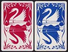 2 Single VINTAGE Swap/Playing Cards SWAN BIRDS SILHOUETTE RED + BLUE