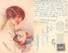 Ticino - DONNA CON CANE FRAU MIT HUND ANNO 1919 ILL. TERZI VG. LUGANO (A-L 297)