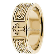 Mens 8mm Cross Wedding Band 10k Solid Yellow Gold Ring Religious Christian Ring