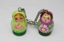 2pc Russian Matryoshka Nesting Doll Hand Paint Wooden Wood Keychain Souvenir New