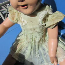 "Shirley Temple Doll Dress Organdy Cabbage Rose Flocked Green 25"" Compo 1935"