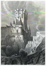 Antique print Alcázar of Segovia castle Spain 1860