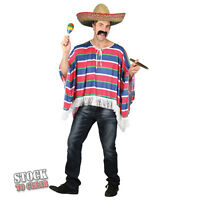Mens Mexican Bandit Fancy Dress Costume Stag Party Poncho Sombrero Hat Moustache